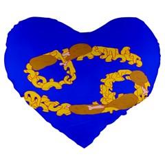 Illustrated 69 Blue Yellow Star Zodiac Large 19  Premium Flano Heart Shape Cushions