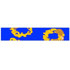 Illustrated 69 Blue Yellow Star Zodiac Flano Scarf (Large)