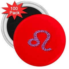 Illustrated Zodiac Red Purple Star Polka Dot 3  Magnets (100 pack)