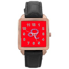 Illustrated Zodiac Red Purple Star Polka Dot Rose Gold Leather Watch