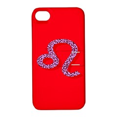 Illustrated Zodiac Red Purple Star Polka Dot Apple iPhone 4/4S Hardshell Case with Stand