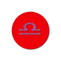 Illustrated Zodiac Red Purple Star Polka Rubber Round Coaster (4 pack)