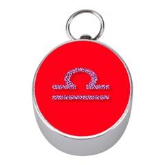 Illustrated Zodiac Red Purple Star Polka Mini Silver Compasses