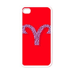 Illustrated Zodiac Red Star Purple Apple iPhone 4 Case (White)