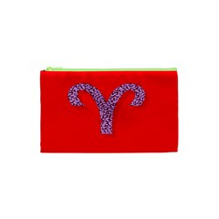 Illustrated Zodiac Red Star Purple Cosmetic Bag (XS)