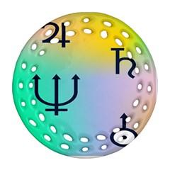 Illustrated Zodiac Star Round Filigree Ornament (Two Sides)