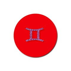 Illustrated Zodiac Red Purple Star Polka Dot Grey Rubber Coaster (Round)