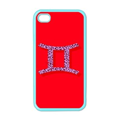 Illustrated Zodiac Red Purple Star Polka Dot Grey Apple iPhone 4 Case (Color)