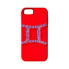 Illustrated Zodiac Red Purple Star Polka Dot Grey Apple iPhone 5 Classic Hardshell Case (PC+Silicone)