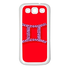Illustrated Zodiac Red Purple Star Polka Dot Grey Samsung Galaxy S3 Back Case (White)
