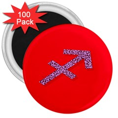 Illustrated Zodiac Star Red Purple 3  Magnets (100 pack)