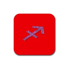 Illustrated Zodiac Star Red Purple Rubber Square Coaster (4 pack)