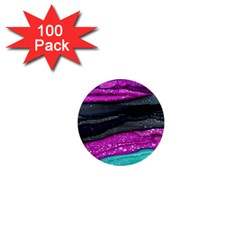 Green Pink Purple Black Stone 1  Mini Buttons (100 pack)