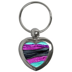 Green Pink Purple Black Stone Key Chains (Heart)