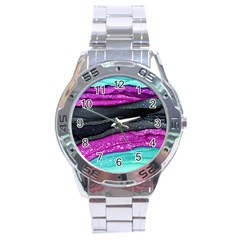 Green Pink Purple Black Stone Stainless Steel Analogue Watch