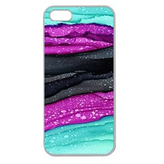 Green Pink Purple Black Stone Apple Seamless iPhone 5 Case (Clear)