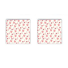 Love Heart Pink Polka Valentine Red Black Green White Cufflinks (Square)