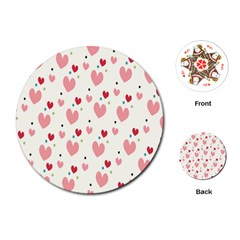 Love Heart Pink Polka Valentine Red Black Green White Playing Cards (Round)