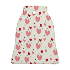 Love Heart Pink Polka Valentine Red Black Green White Bell Ornament (Two Sides)