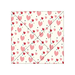 Love Heart Pink Polka Valentine Red Black Green White Acrylic Tangram Puzzle (4  X 4 )