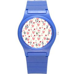 Love Heart Pink Polka Valentine Red Black Green White Round Plastic Sport Watch (S)