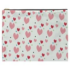 Love Heart Pink Polka Valentine Red Black Green White Cosmetic Bag (XXXL)