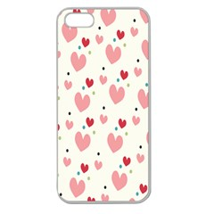 Love Heart Pink Polka Valentine Red Black Green White Apple Seamless iPhone 5 Case (Clear)