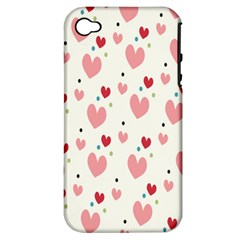 Love Heart Pink Polka Valentine Red Black Green White Apple iPhone 4/4S Hardshell Case (PC+Silicone)