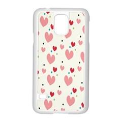 Love Heart Pink Polka Valentine Red Black Green White Samsung Galaxy S5 Case (White)