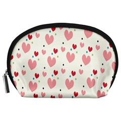 Love Heart Pink Polka Valentine Red Black Green White Accessory Pouches (Large)