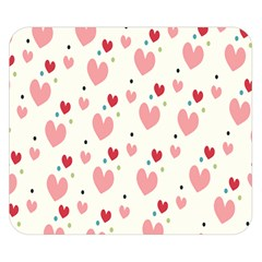Love Heart Pink Polka Valentine Red Black Green White Double Sided Flano Blanket (Small)