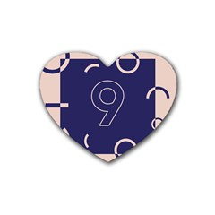 Number 9 Blue Pink Circle Polka Heart Coaster (4 pack)