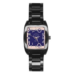 Number 9 Blue Pink Circle Polka Stainless Steel Barrel Watch