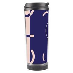 Number 9 Blue Pink Circle Polka Travel Tumbler