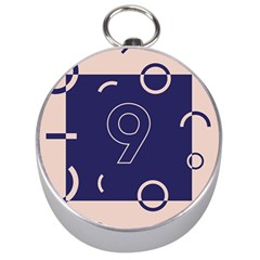 Number 9 Blue Pink Circle Polka Silver Compasses