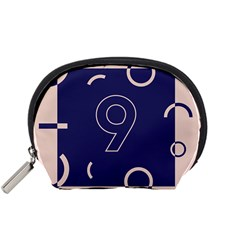Number 9 Blue Pink Circle Polka Accessory Pouches (Small)