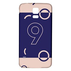 Number 9 Blue Pink Circle Polka Samsung Galaxy S5 Back Case (White)