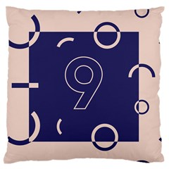 Number 9 Blue Pink Circle Polka Large Flano Cushion Case (One Side)