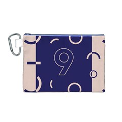 Number 9 Blue Pink Circle Polka Canvas Cosmetic Bag (M)