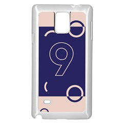 Number 9 Blue Pink Circle Polka Samsung Galaxy Note 4 Case (White)