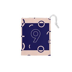 Number 9 Blue Pink Circle Polka Drawstring Pouches (XS)