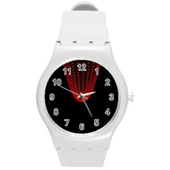 Normal Field Of An Elliptic Paraboloid Red Round Plastic Sport Watch (M)