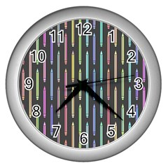 Pencil Stationery Rainbow Vertical Color Wall Clocks (Silver)