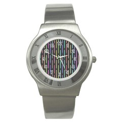 Pencil Stationery Rainbow Vertical Color Stainless Steel Watch
