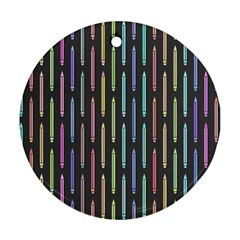 Pencil Stationery Rainbow Vertical Color Round Ornament (Two Sides)