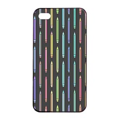 Pencil Stationery Rainbow Vertical Color Apple iPhone 4/4s Seamless Case (Black)