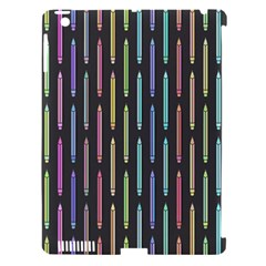 Pencil Stationery Rainbow Vertical Color Apple iPad 3/4 Hardshell Case (Compatible with Smart Cover)