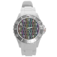 Pencil Stationery Rainbow Vertical Color Round Plastic Sport Watch (l)