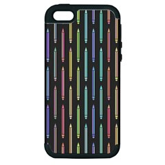 Pencil Stationery Rainbow Vertical Color Apple Iphone 5 Hardshell Case (pc+silicone)