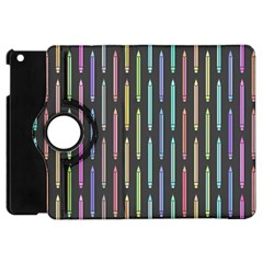 Pencil Stationery Rainbow Vertical Color Apple iPad Mini Flip 360 Case